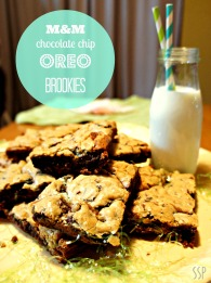 M&M Oreo Chocolate Chip Brookies|Slice of Southern Pie #cookies #dessert